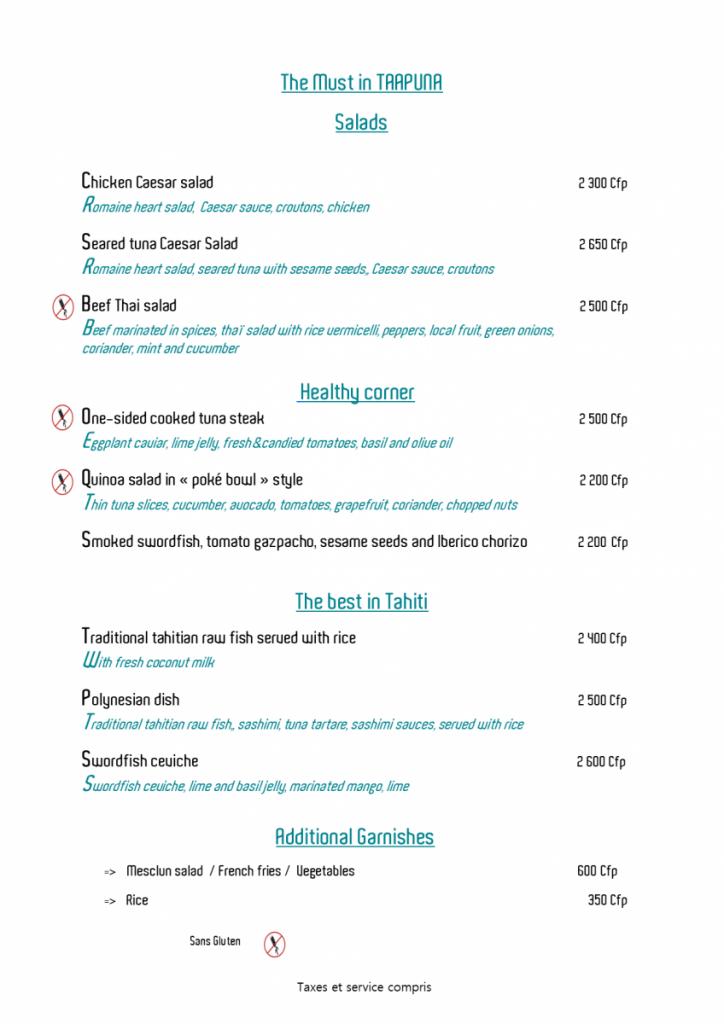 Taapuna menu 21 avril en anglais